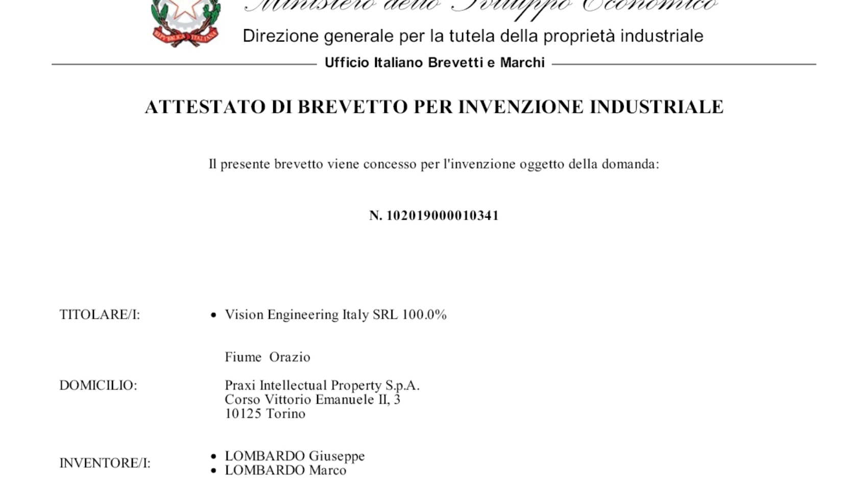 Concession brevetto VEI_05 ITA